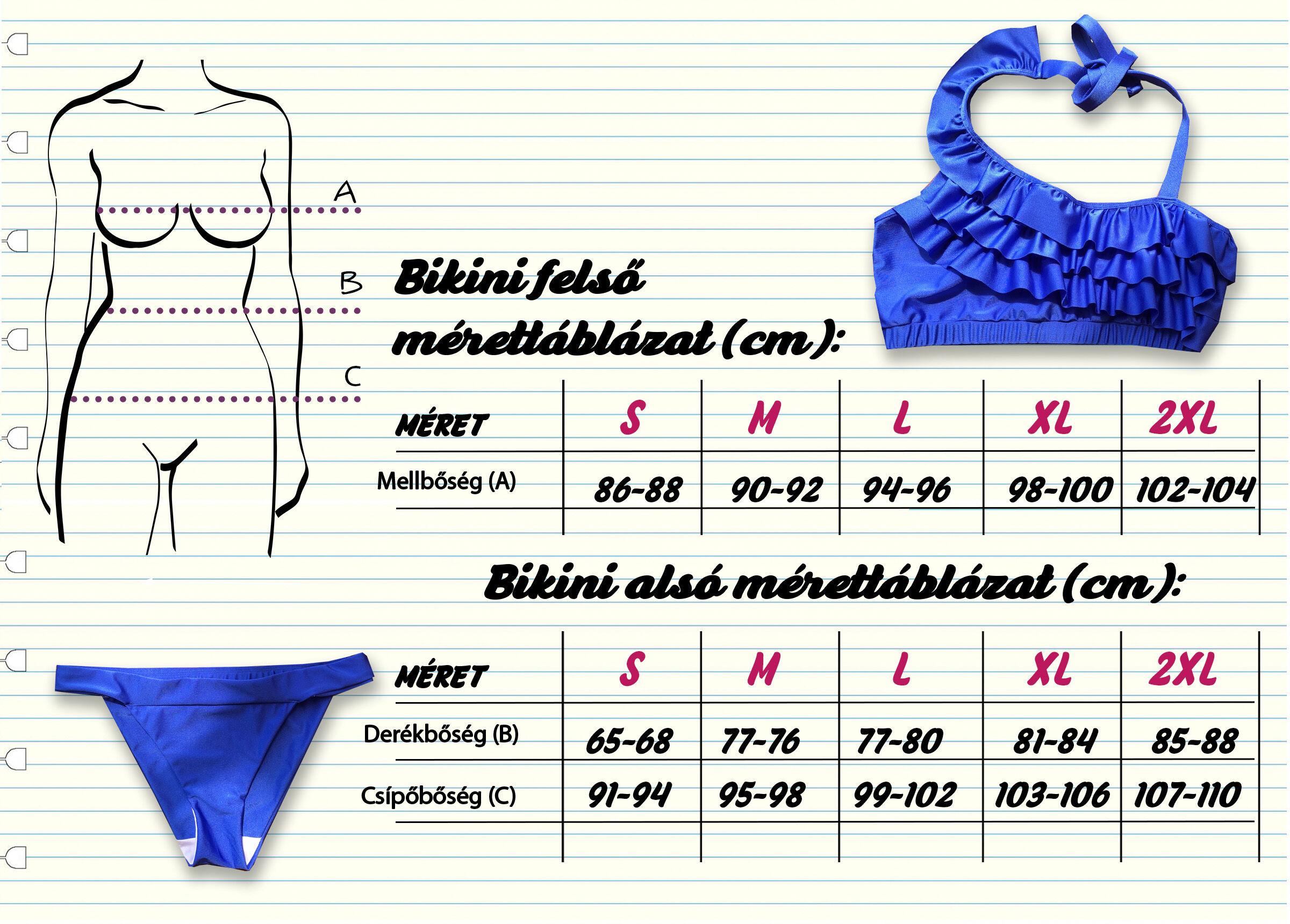 Bikini mérettáblázat
