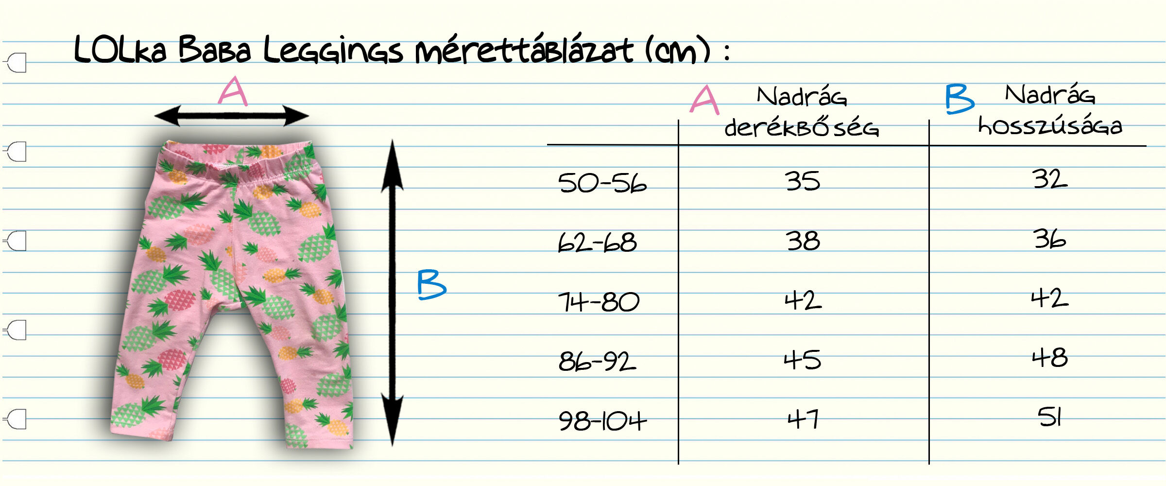 Ananász leggings mérettáblázat
