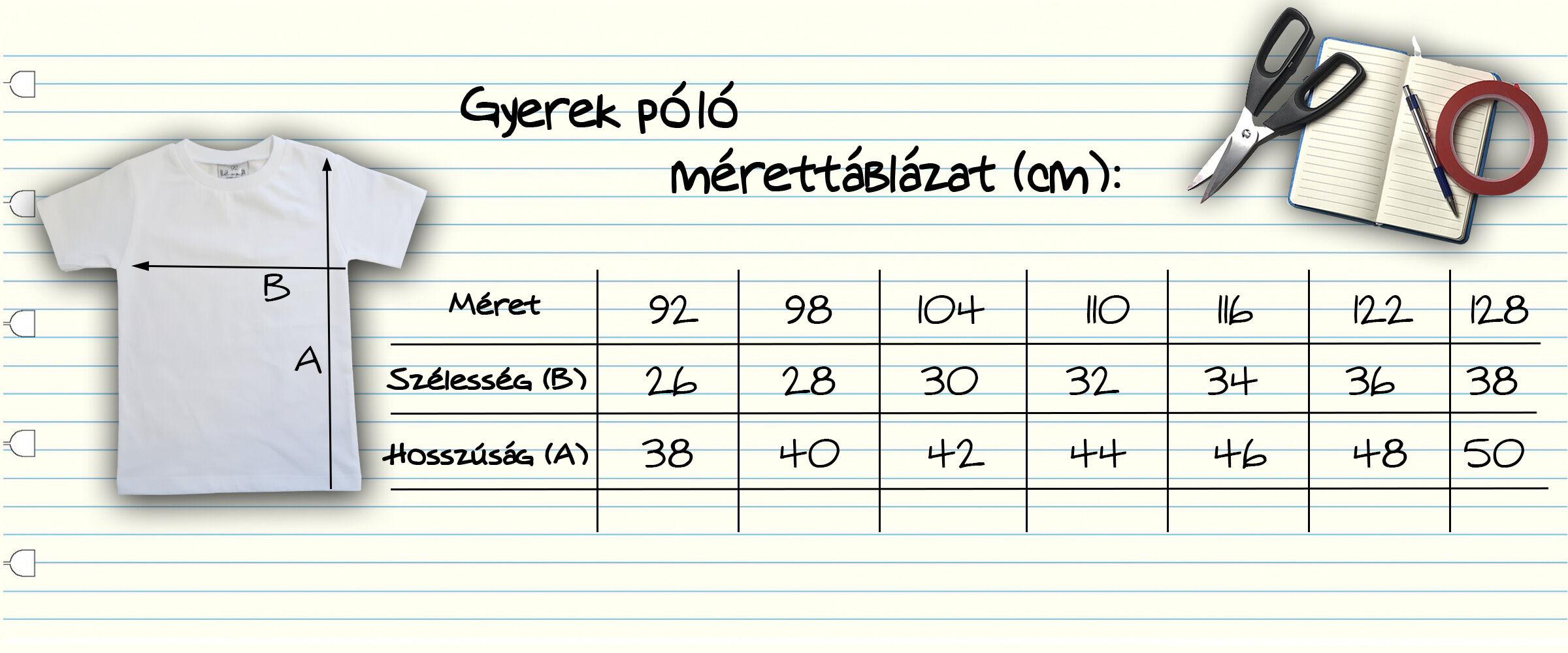 Gyerkőc póló mérettáblázat (unisex)