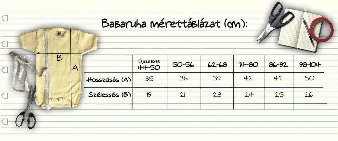 Babaruha mérettáblázat